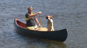 "Elinore (the canoe), Gracie (the puppy), and Ian (the old man), paddle from ""The Point"" to Cairo, IL... 1,000 miles!"